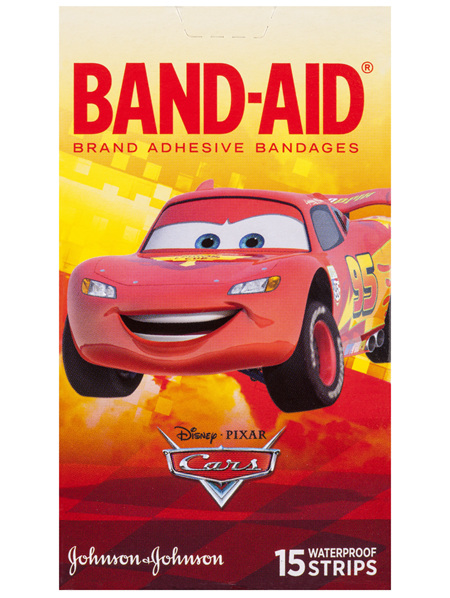 Band-Aid Brand Adhesive Bandages Cars Waterproof 15 Pack