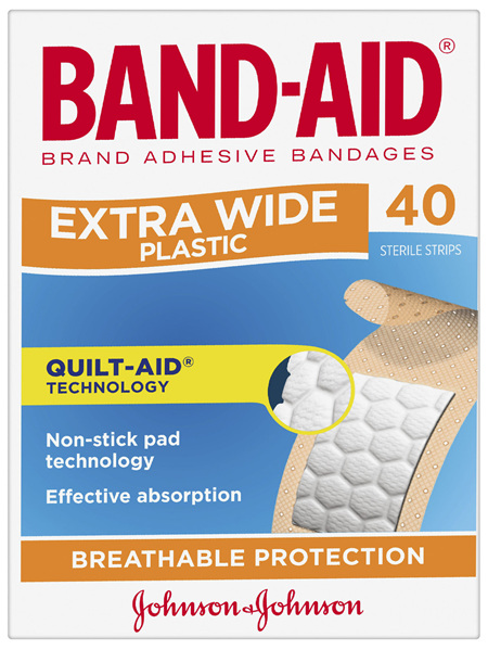 Band-Aid Brand Extra Wide Plastic Strips 40 Pack