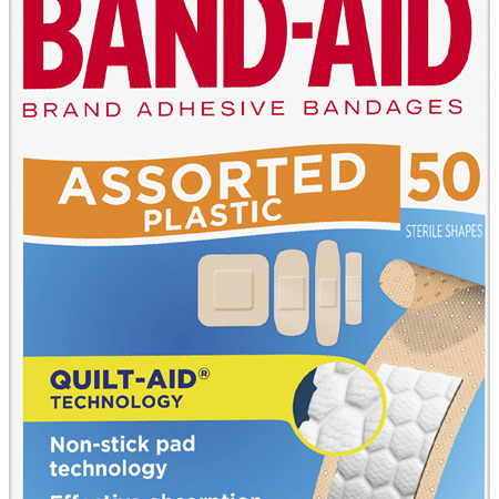 Band-Aid Brand Plastic Strips Assorted Shapes 50 Pack
