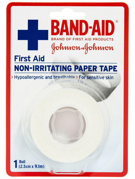 Band-Aid First Aid Non-Irritating Paper Tape 2.5cm x 9.1m 1 Pack