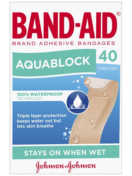 Band-Aid Waterproof Aquablock Sterile Strips 40 Pack