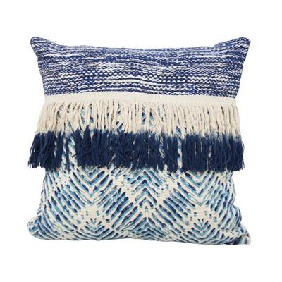 Bangalow Cushion W Fringe - Blue & White 45x45cm