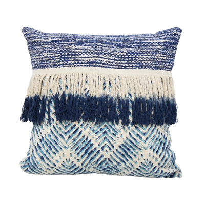Bangalow Cushion W Fringe - Blue & White 45x45cm