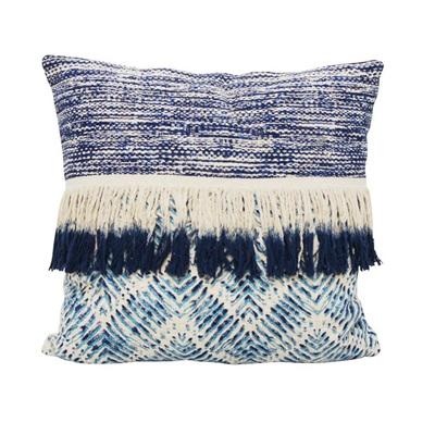 Bangalow Cushion W Fringe - Blue & White 55x55cmh