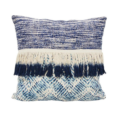 Bangalow Cushion W Fringe - Blue & White 55x55cmh