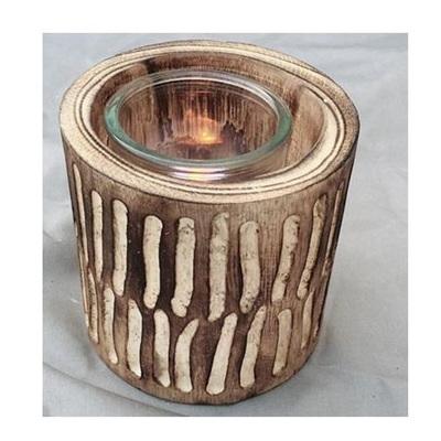 Barack Carved Wood Lantern  - Dark Stain 12cmh