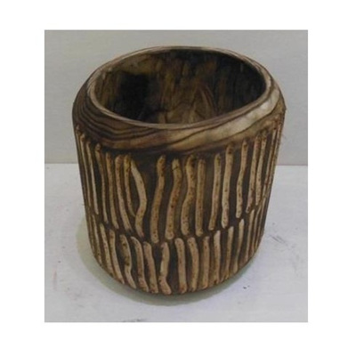 Barack Carved Wood Planter - Dark Stain - 19.5cmh