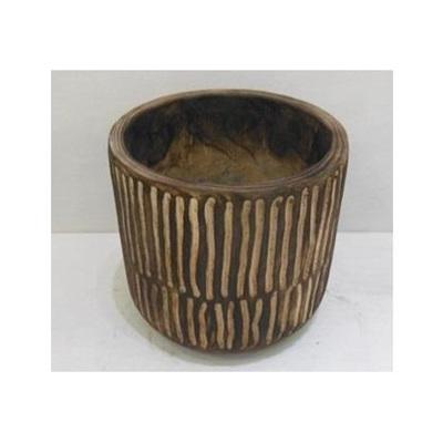 Barack Carved Wood Planter - Dark Stain - 22cmh