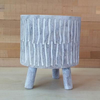 Barack Carved Wood Planter W Legs - White 25.5cmh