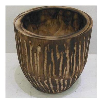 Barack Carved Wood Planter - White Wash 19.5cmh
