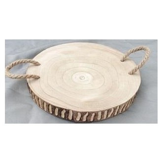Barack Carved Wood Platter W Rope Handle 40cmd