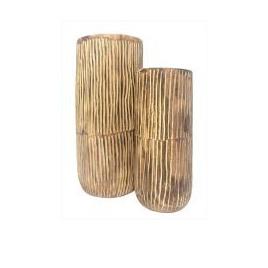 Barack Carved Wood Vase - Dark Stain