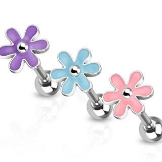 Barbell w/ Cute Epoxy Flower Top