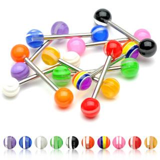 Barbell W/Multi Color Layer UV Ball