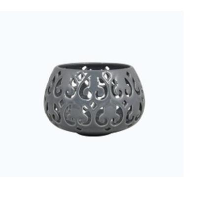 Baroque Ball Tealight Holder Plate Grey Ceramic 7.5cm