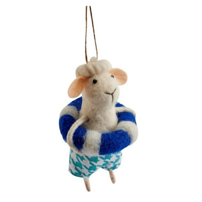 Bathing Sheep Felt Decoration
