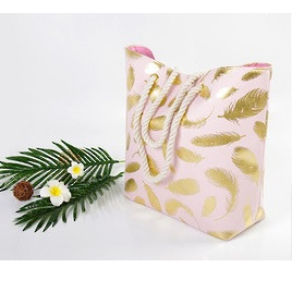 Beach Bag Pink - Feathers