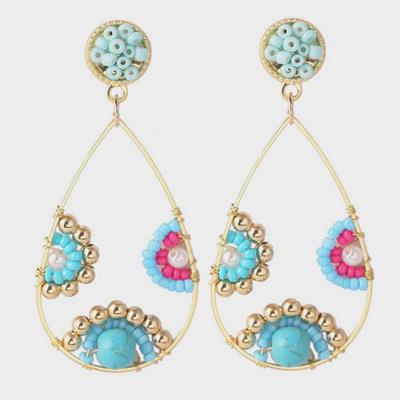 Beaded Teardrop Hoop Earrings Blue