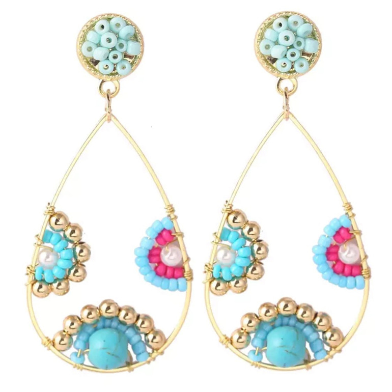 Beaded Teardrop Hoop Earrings Blue