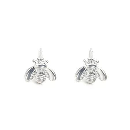 Bee Stud Earrings - Silver