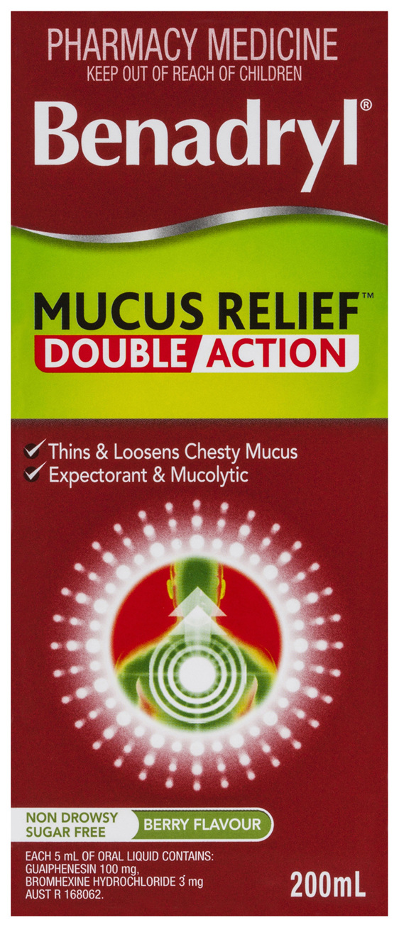 Benadryl Cough Liquid Mucus Relief Cough Liquid 200mL