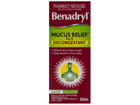 Benadryl Cough Liquid Mucus Relief Plus Decongestant Berry Flavour 200mL