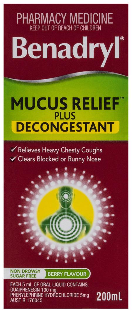 Benadryl Cough Liquid Mucus Relief Plus Decongestant Berry Flavour 200mL