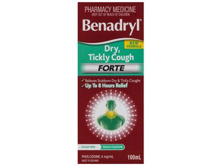 Benadryl Dry, Tickly Cough Forte Liquid Peach Flavour 100mL