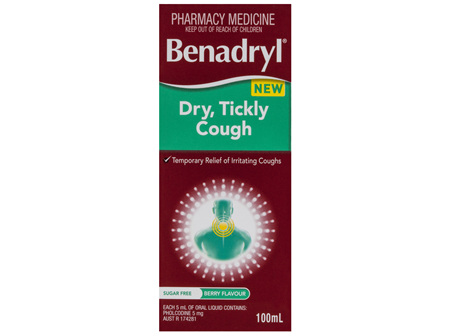 Benadryl Dry, Tickly Cough Liquid Berry Flavour 100mL