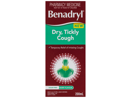 Benadryl Dry, Tickly Cough Liquid Berry Flavour 200mL