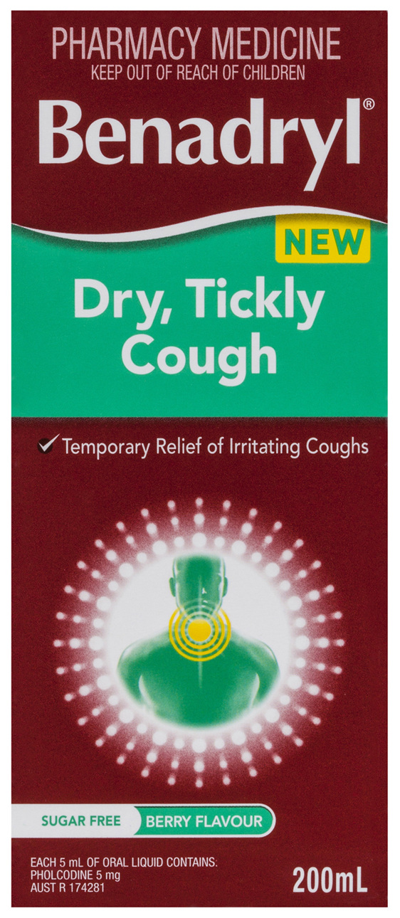Benadryl Dry, Tickly Cough Liquid Berry Flavour 200mL