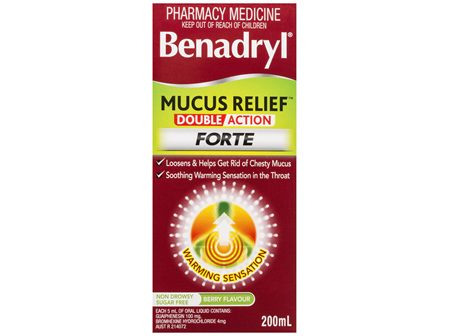 Benadryl Mucus Relief Double Action Forte Liquid Berry Flavour 200mL