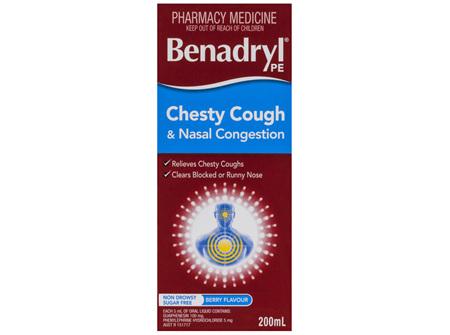 Benadryl Pe Chesty Cough & Nasal Congestion Non Drowsy Berry Flavour 200mL