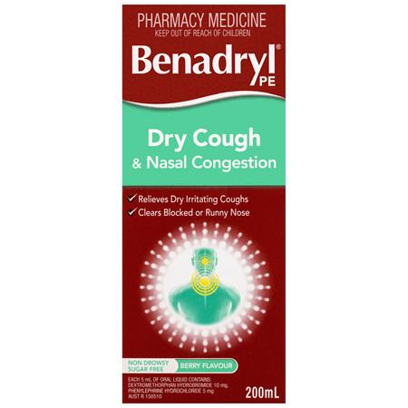 Benadryl PE Dry Cough & Nasal Congestion 200mL