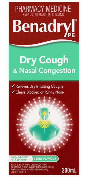Benadryl PE Dry Cough & Nasal Congestion Non Drowsy Berry Flavour 200mL