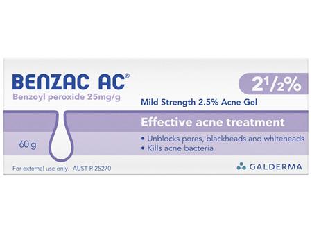 Benzac AC Mild Strength 2.5% Acne Gel 60g, Acne Treatment
