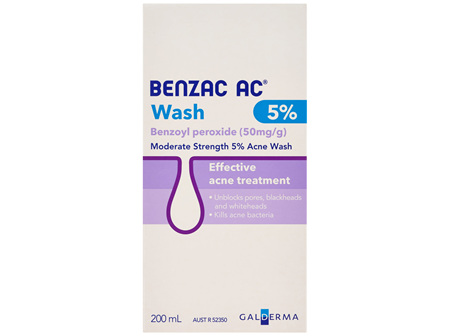 Benzac AC Moderate Strength 5% Acne Wash 200mL, Body Wash