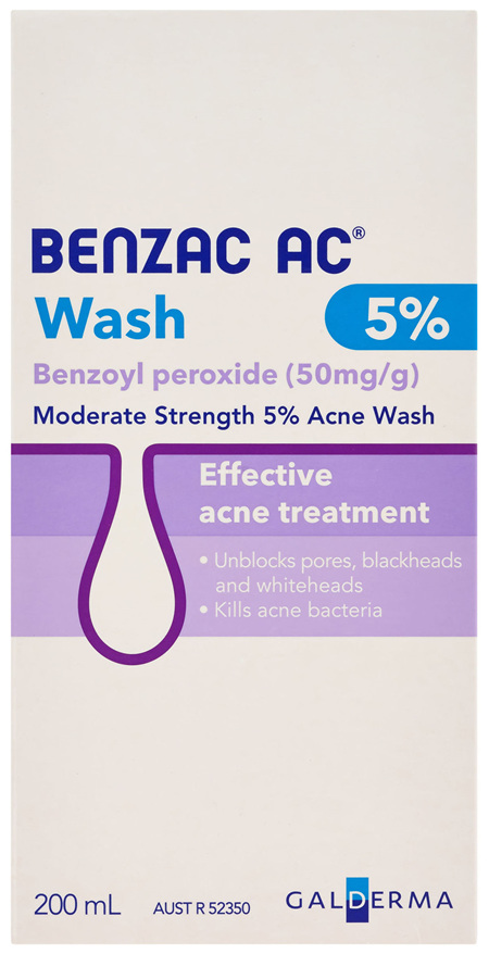 Benzac AC Moderate Strength 5% Acne Wash 200mL, Body Wash