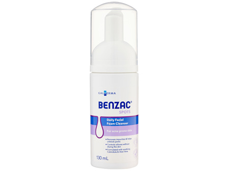 Benzac Daily Facial Foam Cleanser 130mL, For Acne-Prone Skin