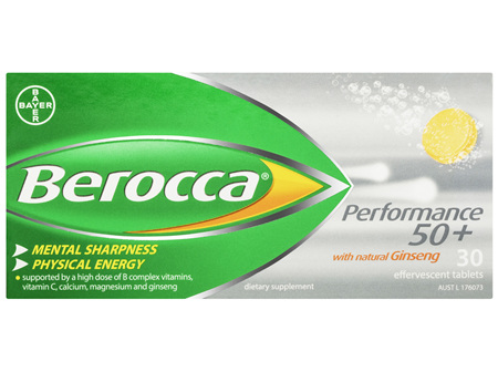 Berocca 50+ Energy Vitamin With Natural Ginseng Effervescent Tablets 30 pack