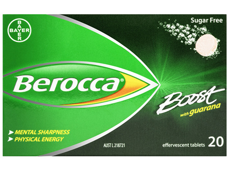 Berocca Boost Vitamin B & C Guava Flavour With Guarana Energy Effervescent Tablets 20 Pack