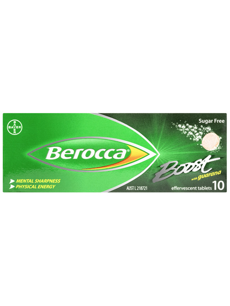 Berocca Boost Vitamin B & C Guava Flavour With Guarana Energy Effervescent Tablets 10 Pack