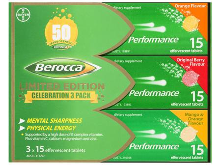 Berocca Energy Vitamin Effervescent Tablets Limited Edition Celebration 3 Pack