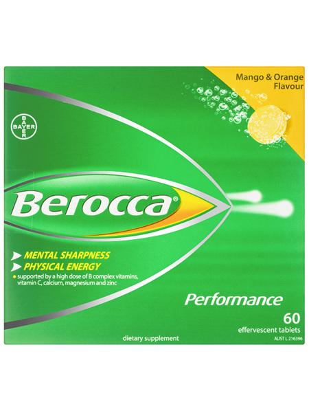 Berocca Energy Vitamin Mango & Orange Effervescent Tablets 60 pack Exclusive Size
