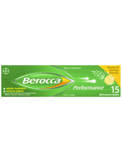 Berocca Energy Vitamin Mango & Orange Effervescent Tablets 15 pack