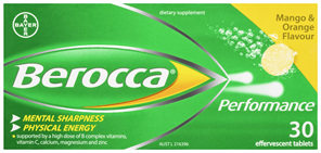 Berocca Energy Vitamin Mango & Orange  Effervescent Tablets 30 pack
