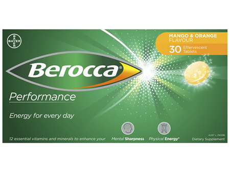 Berocca Energy Vitamin Mango & Orange  Effervescent Tablets 30 pack