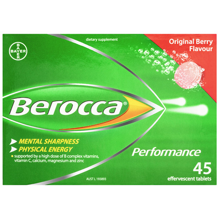 Berocca Energy Vitamin Original Berry Effervescent Tablets 45 pack