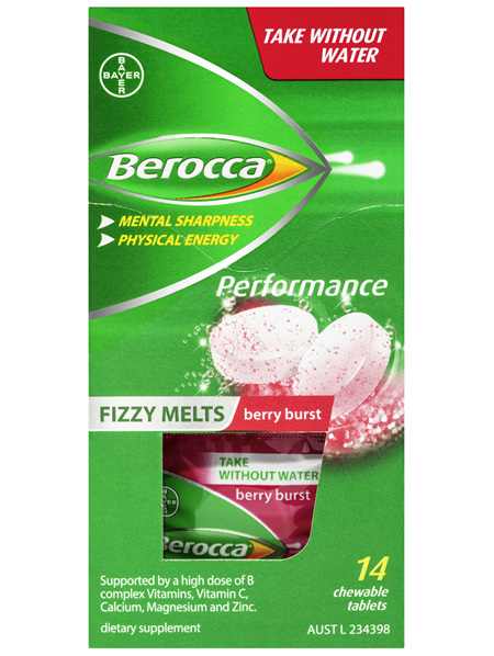 Berocca Fizzy Melts Energy Vitamin Berry Burst Chewable Tablets 14 pack