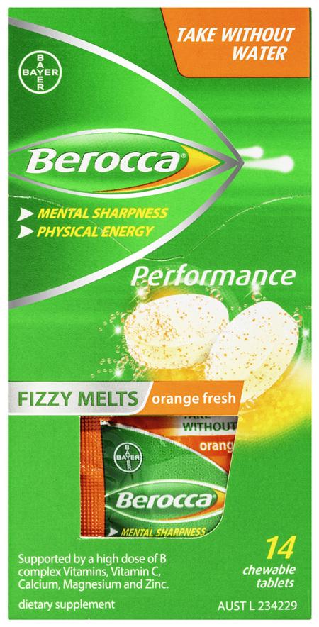 Berocca Fizzy Melts Energy Vitamin Orange Fresh Chewable Tablets 14 pack